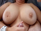 Cumming on her Big Fat Milf Tits