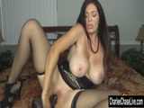 Charlee Chase in sexy lingerie plays with her massive black dildo